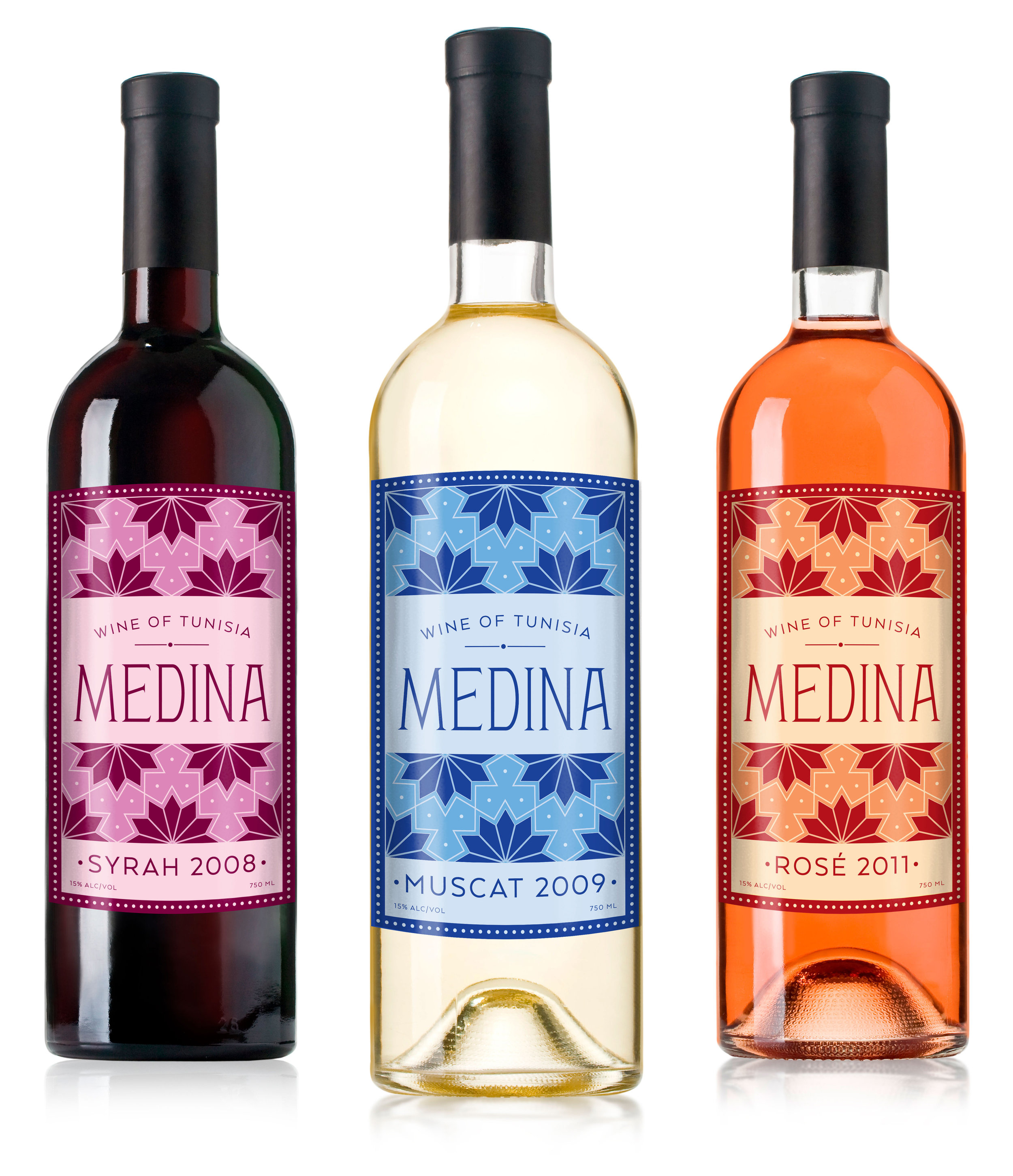 Ornate Hand-Lettered Tunisian Wine Labels Inspired by Tunisian Architecture