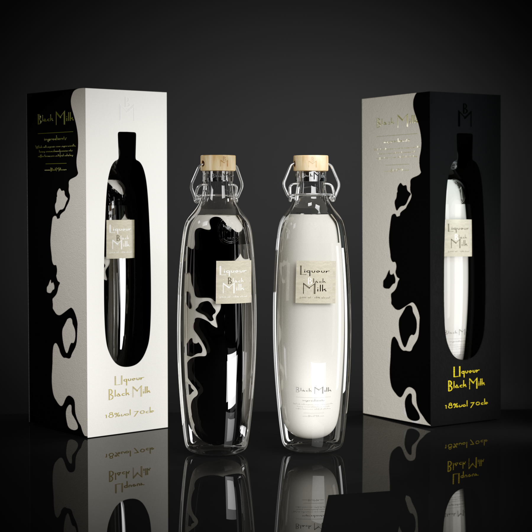 Self Published New Brand and Packaging Design for Russia Black Milk Liqueur