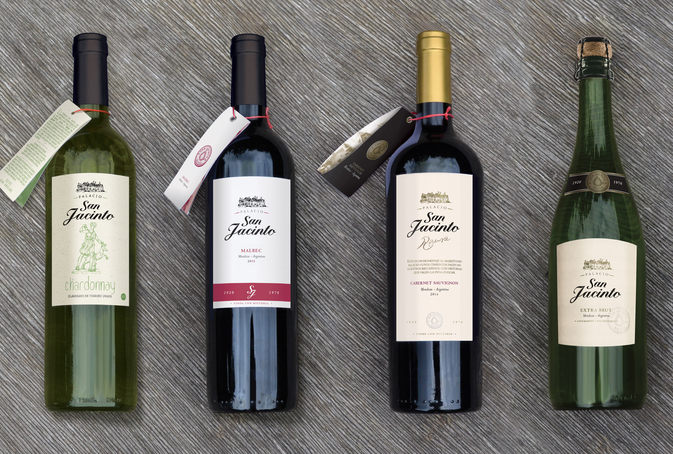 Argentinean Classic Line of Wines Characterised by Simple White Label Design
