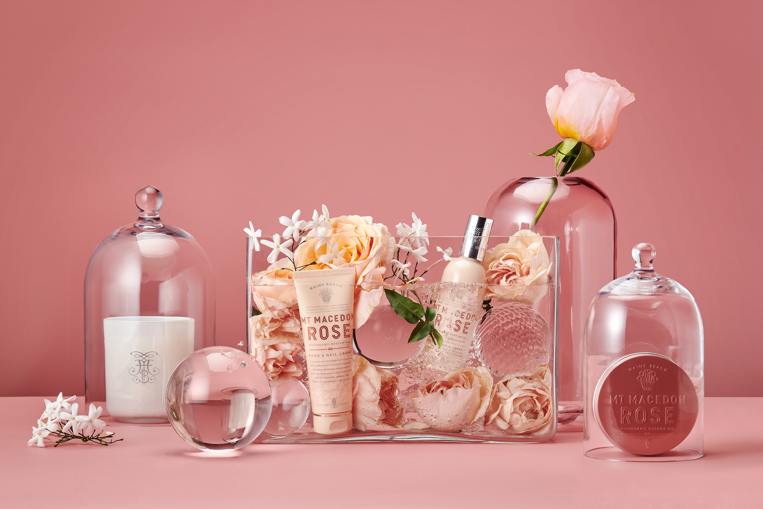 Harcus Design Create Brand Identity and Packaging Design for Maine Beach Mt Macedon Rose Bodycare and Home Frangrances