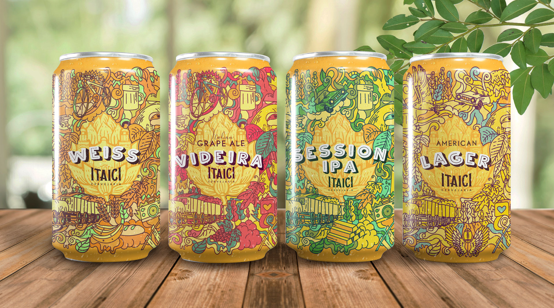 Brazilian Itaici Brewery Packaging Labels Designed and Illustrated by Giovanni Vilela