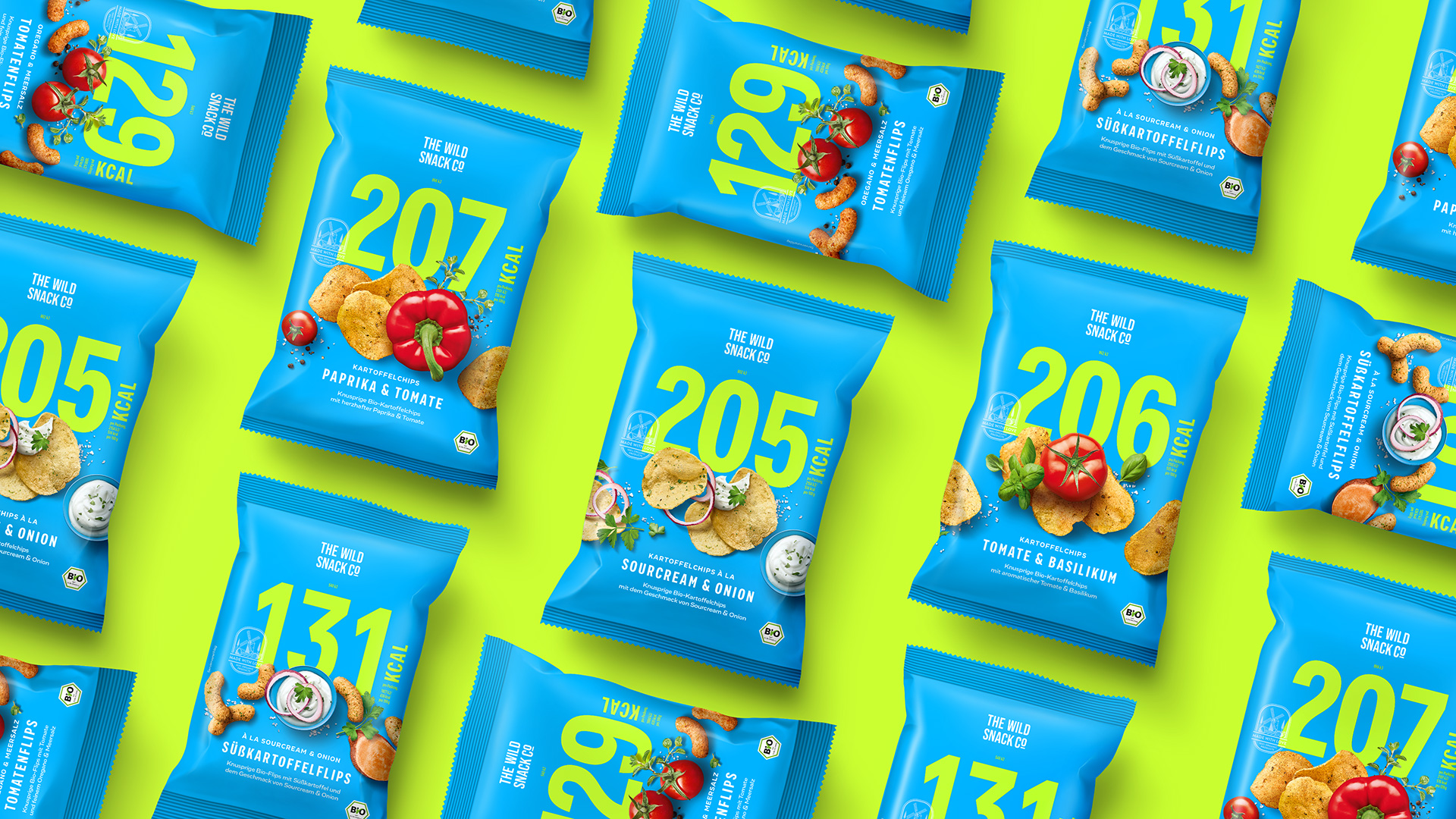 Packaging Design for The Wild Snack Company's Crisps and Puffs