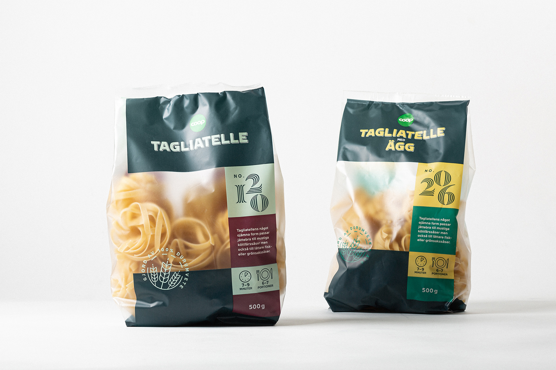 Packaging Range for Two Italian Staples for Coop Sweden by Bedow