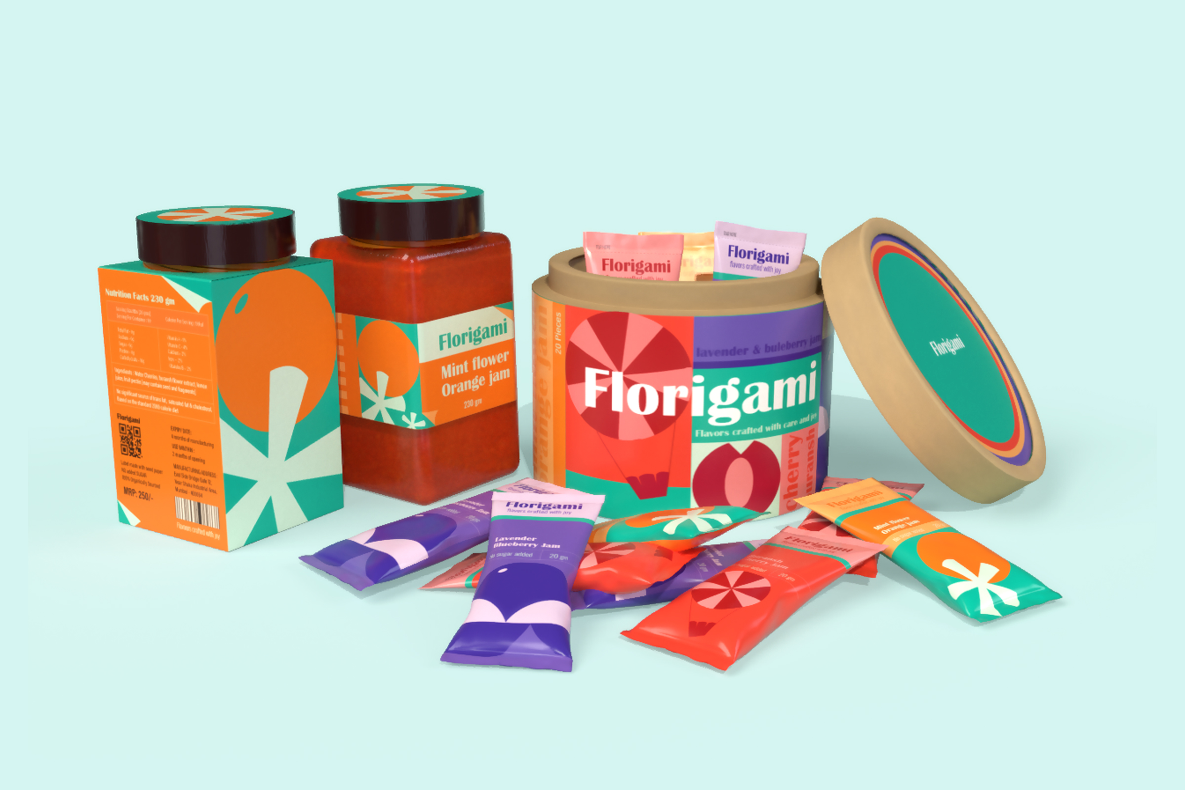 Student Brand and Packaging Design Concept for Florigami Fower and Fruit Fusion Jams
