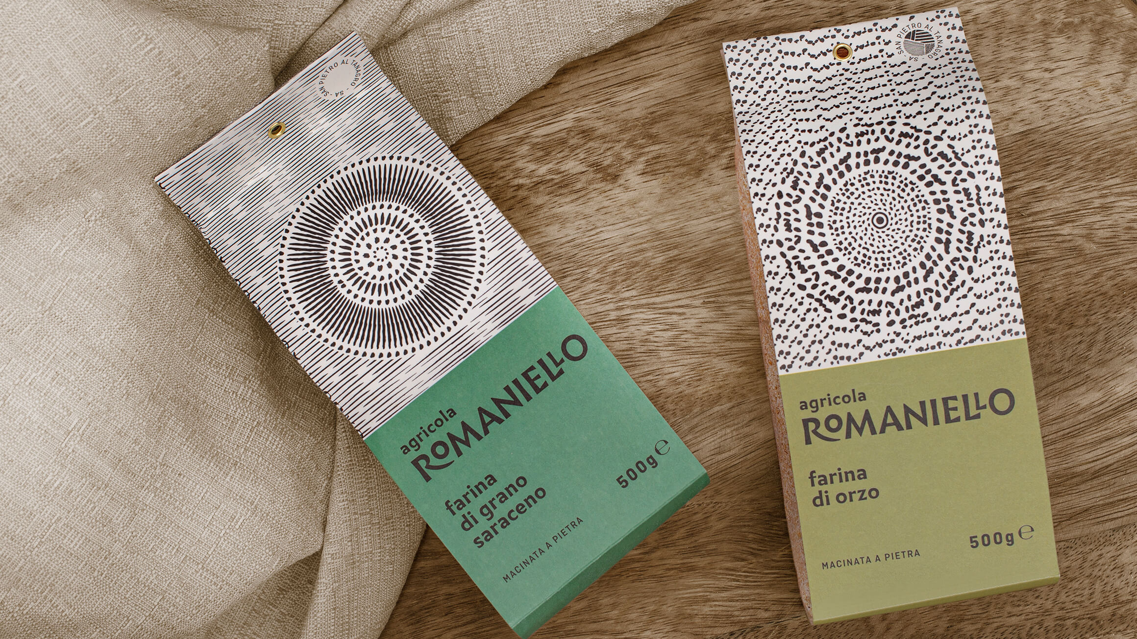 Agricola Romaniello Packaging Cereals, Legumes and Flours Designed by Lettera7