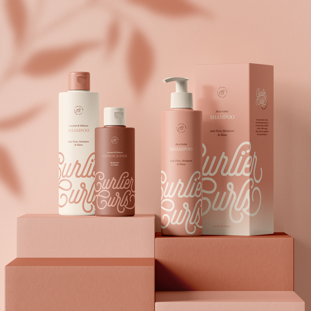 Curlier Curls Hair Cosmetics Brand and Packaging Design