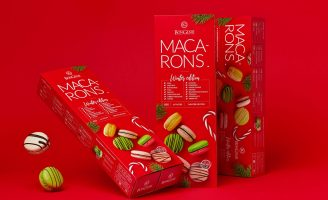 Christmas Tree, Candy, and Holiday Red: a Winter Season Macaron Package by Fabula Branding