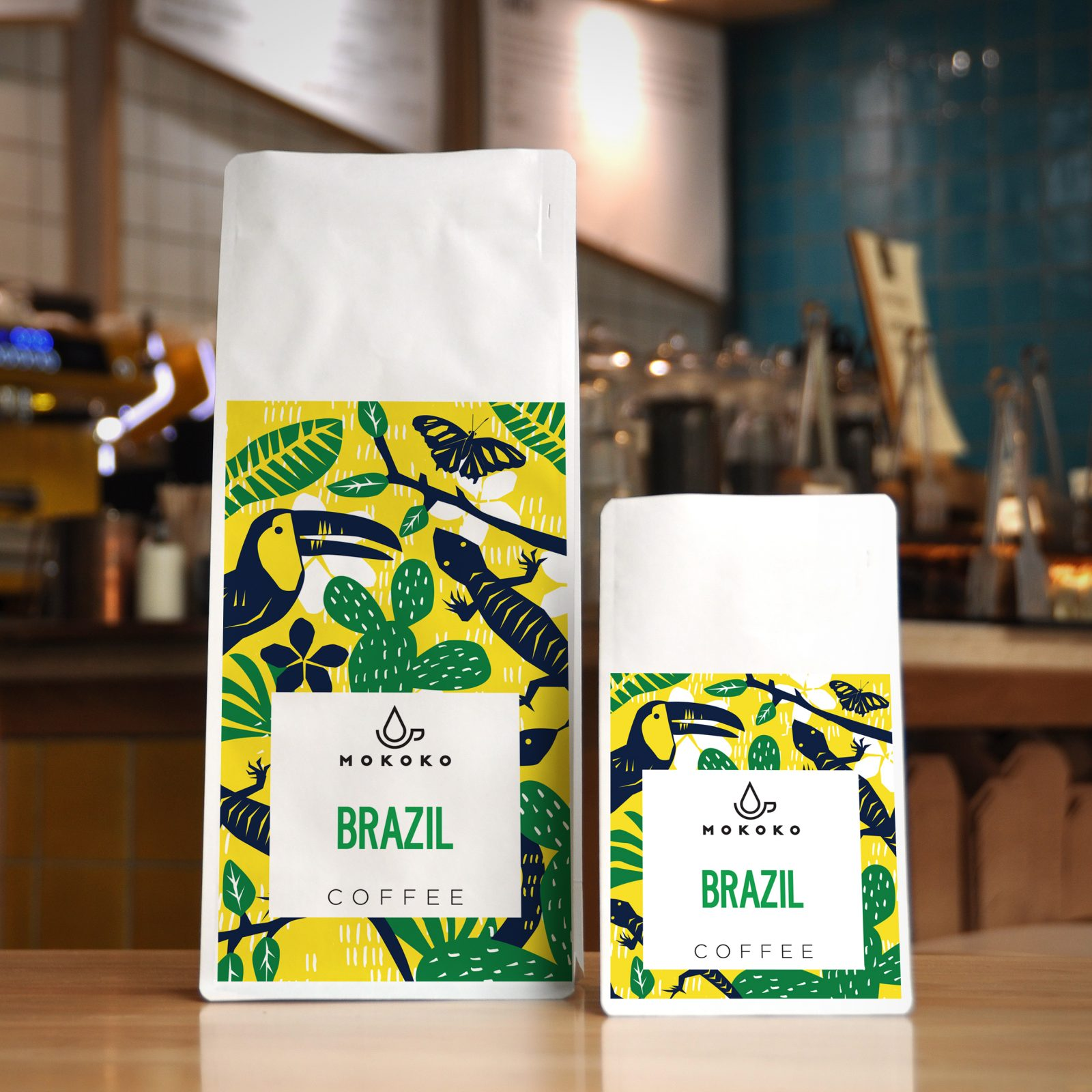 Coffee Packaging Design for Independent Coffee Shop and Bakery based in the UK
