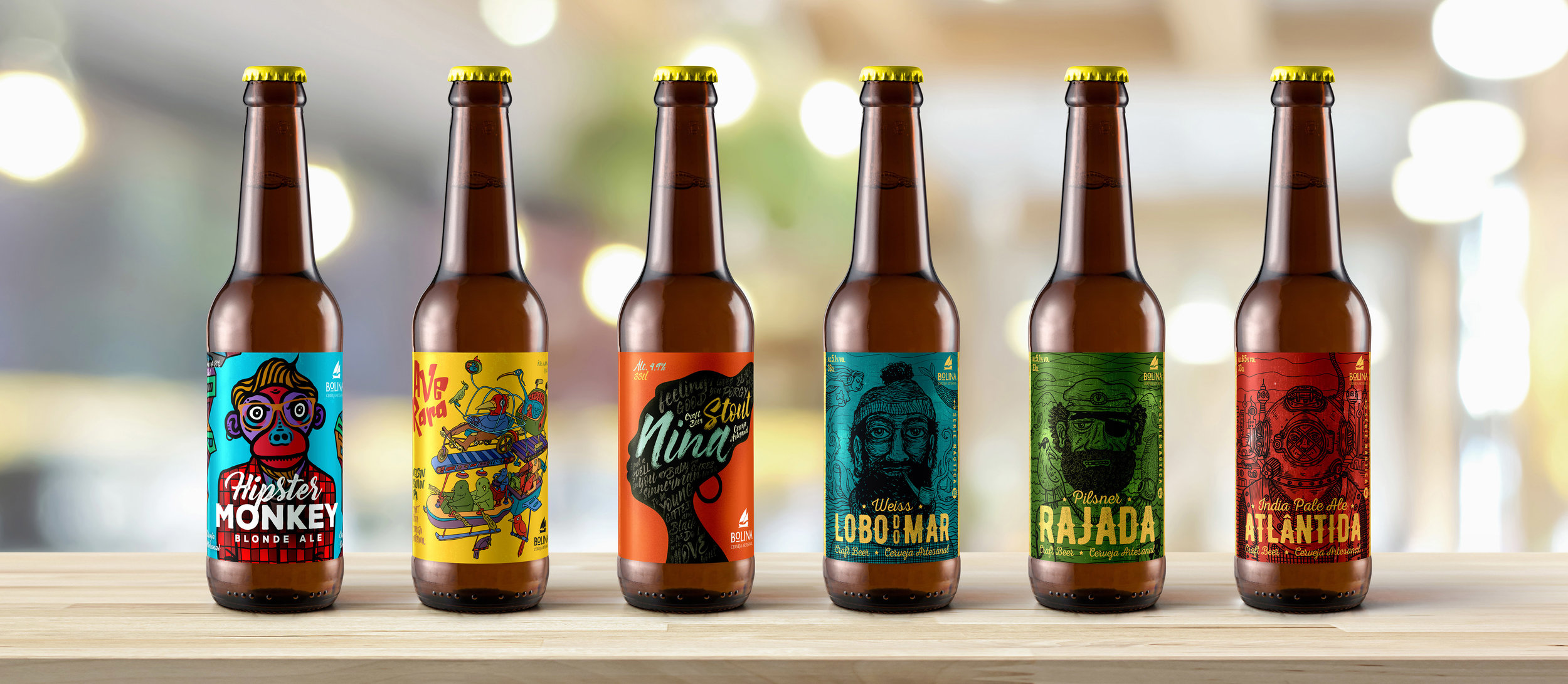 Funky Concept, Illustration and Naming for Beer Packaging Labels