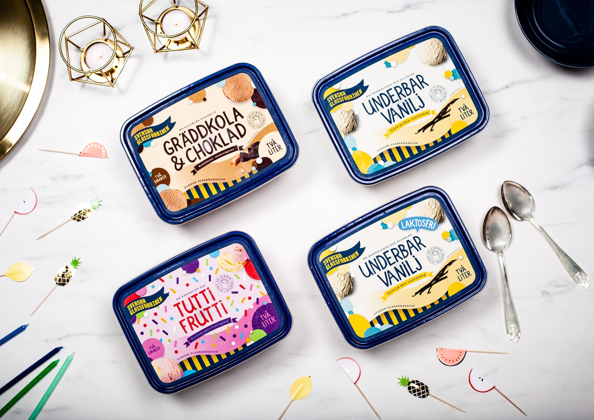 "Packaging for ""Svenska Glassfabriken"" Swedish Ice Cream Factory"
