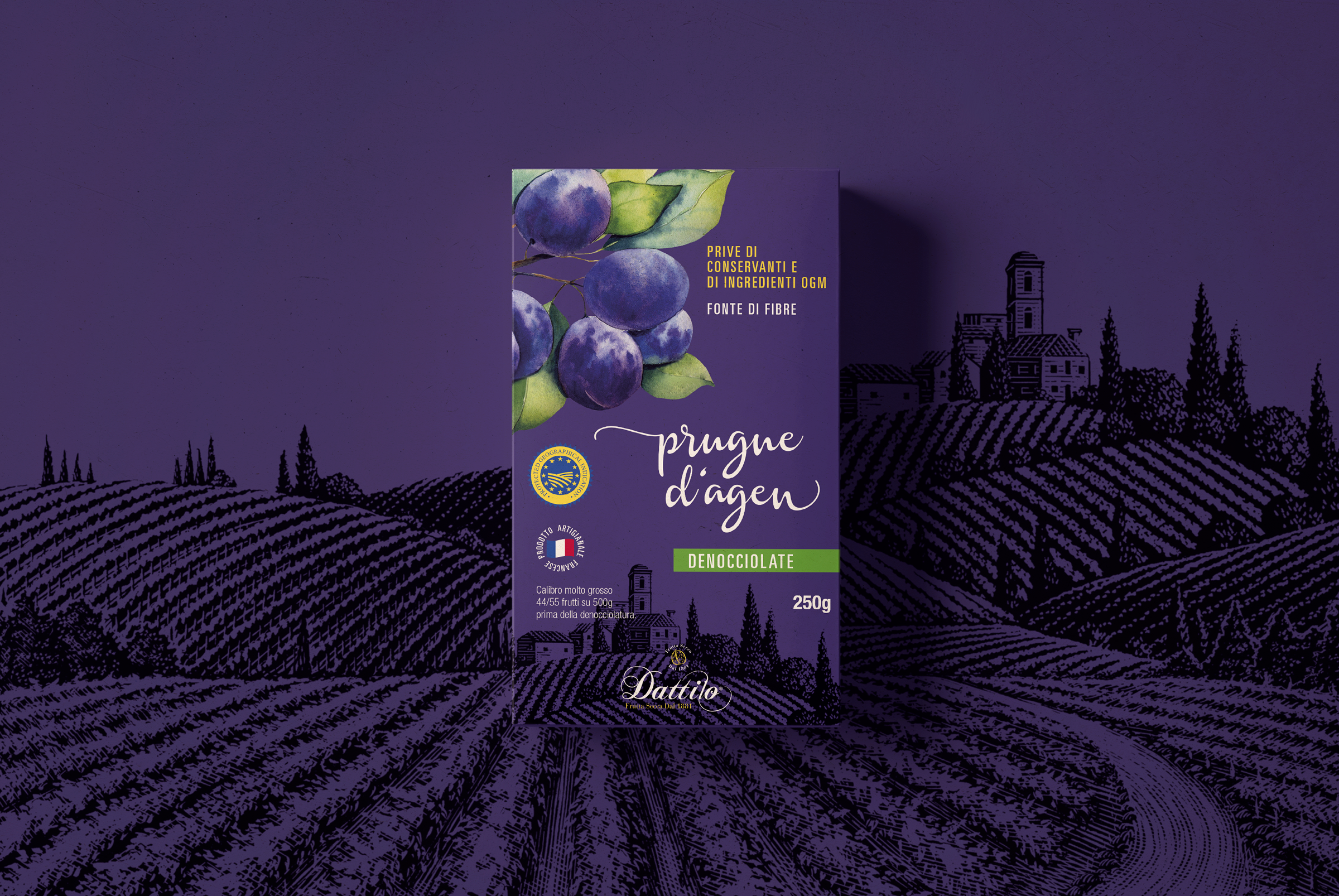 Branding and Packaging Design for Italian Dried Fruit Prunes Product