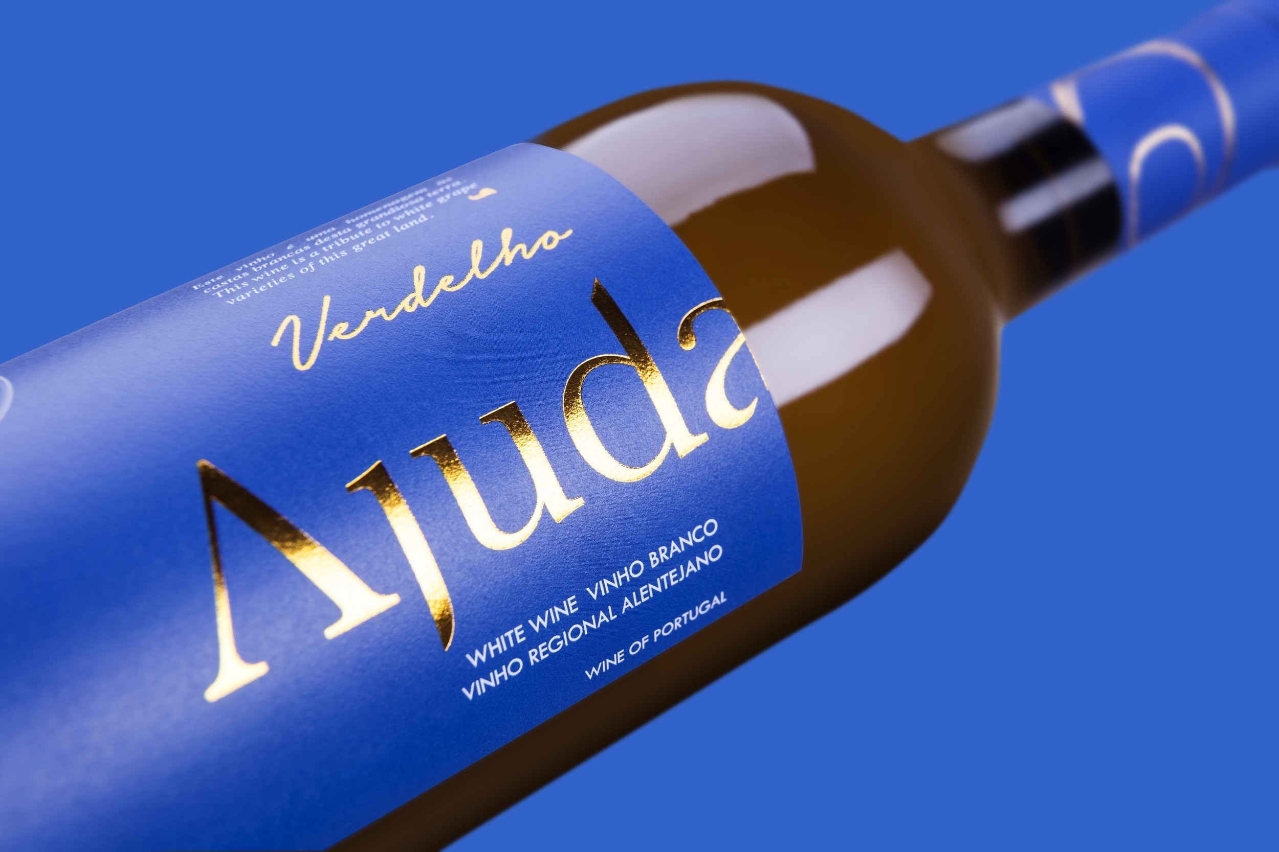 Portuguese Wine Label Utilises Contrasting Vibrant Blue and Stamped Foil Gold