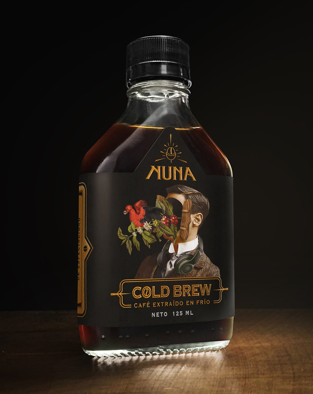 """NUNA"" Cold Brew Coffee Label Concept Design and Illustration"