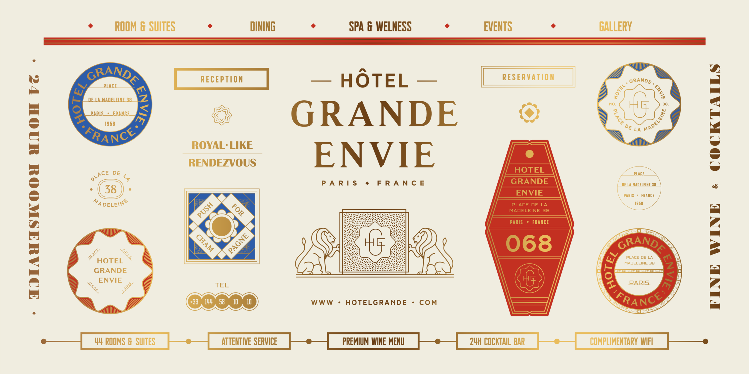 Branding for a Fictional French Hotel Called Hotel Grande Envie