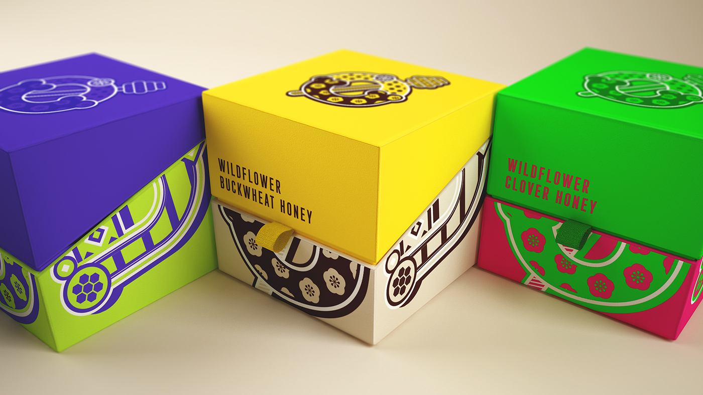 Swedish and Slavic Traditional Folk Patterns and Beautiful Typography for a Modern Honey Brand