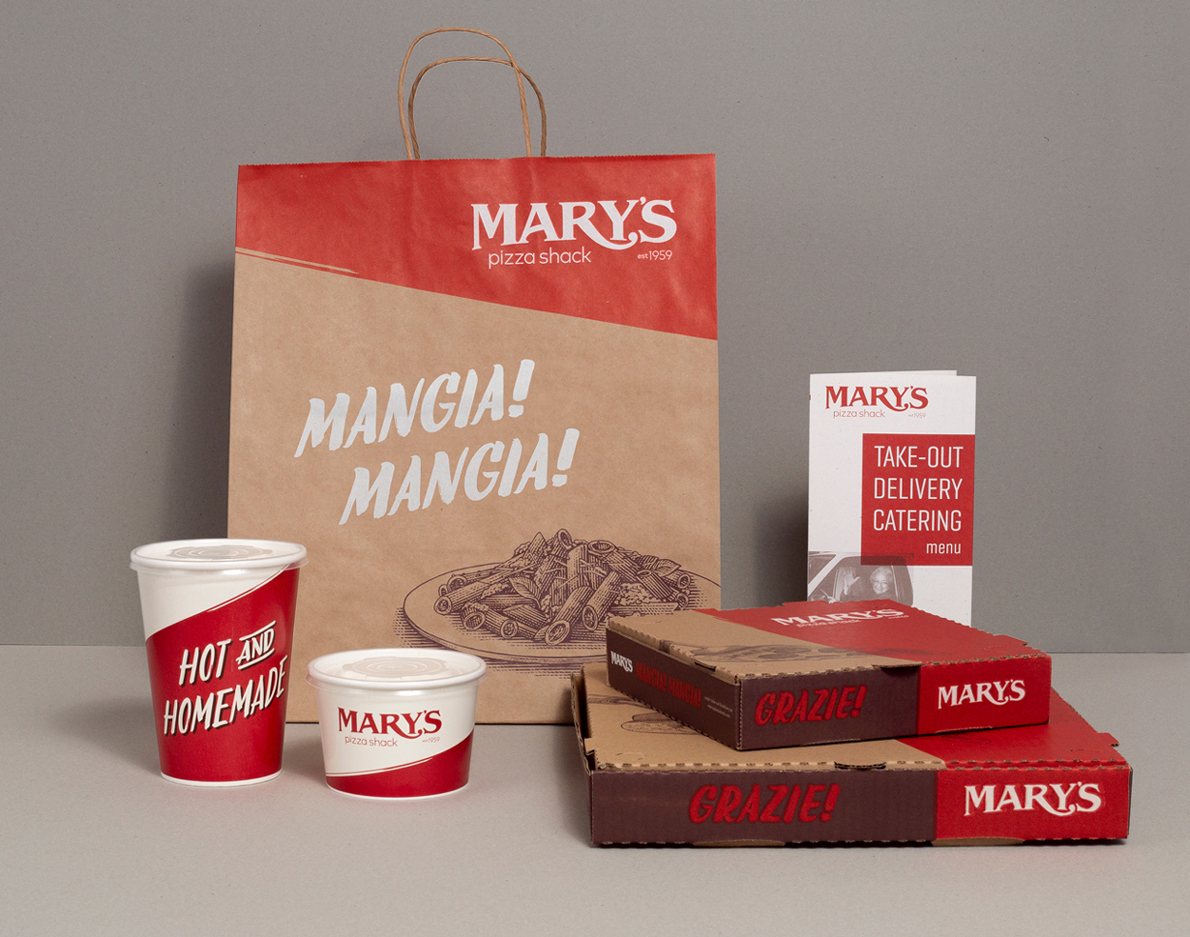 Brand Refresh, Packaging and Menu Design for Mary's Pizza Shack