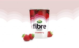 Abstract Fruit Illustrations and Patterns Used for Fibre Yogurts to be Launched in the UK by Arla