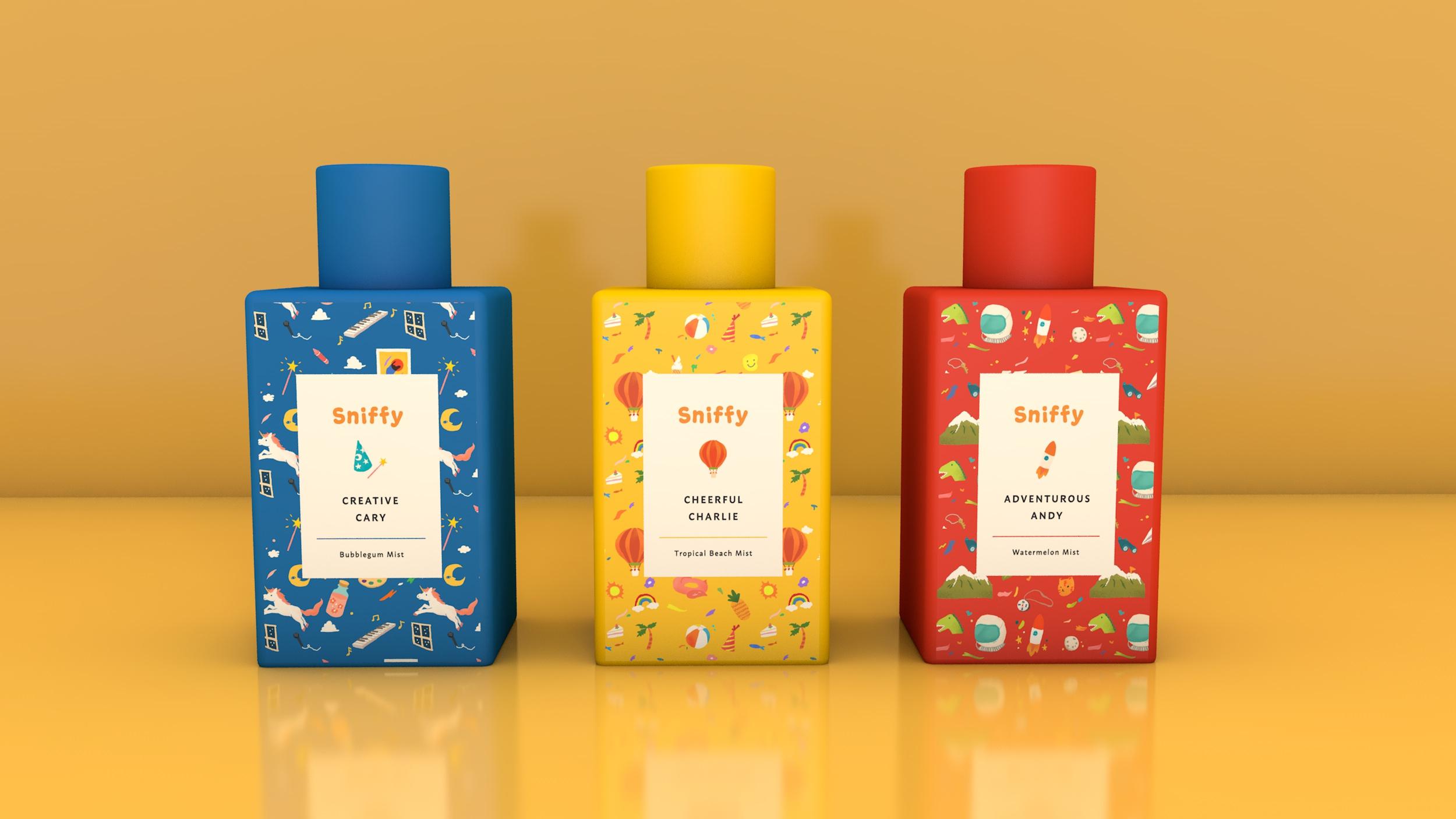 Illustrated Packaging Design for a Body Mist Line Dedicated for Children