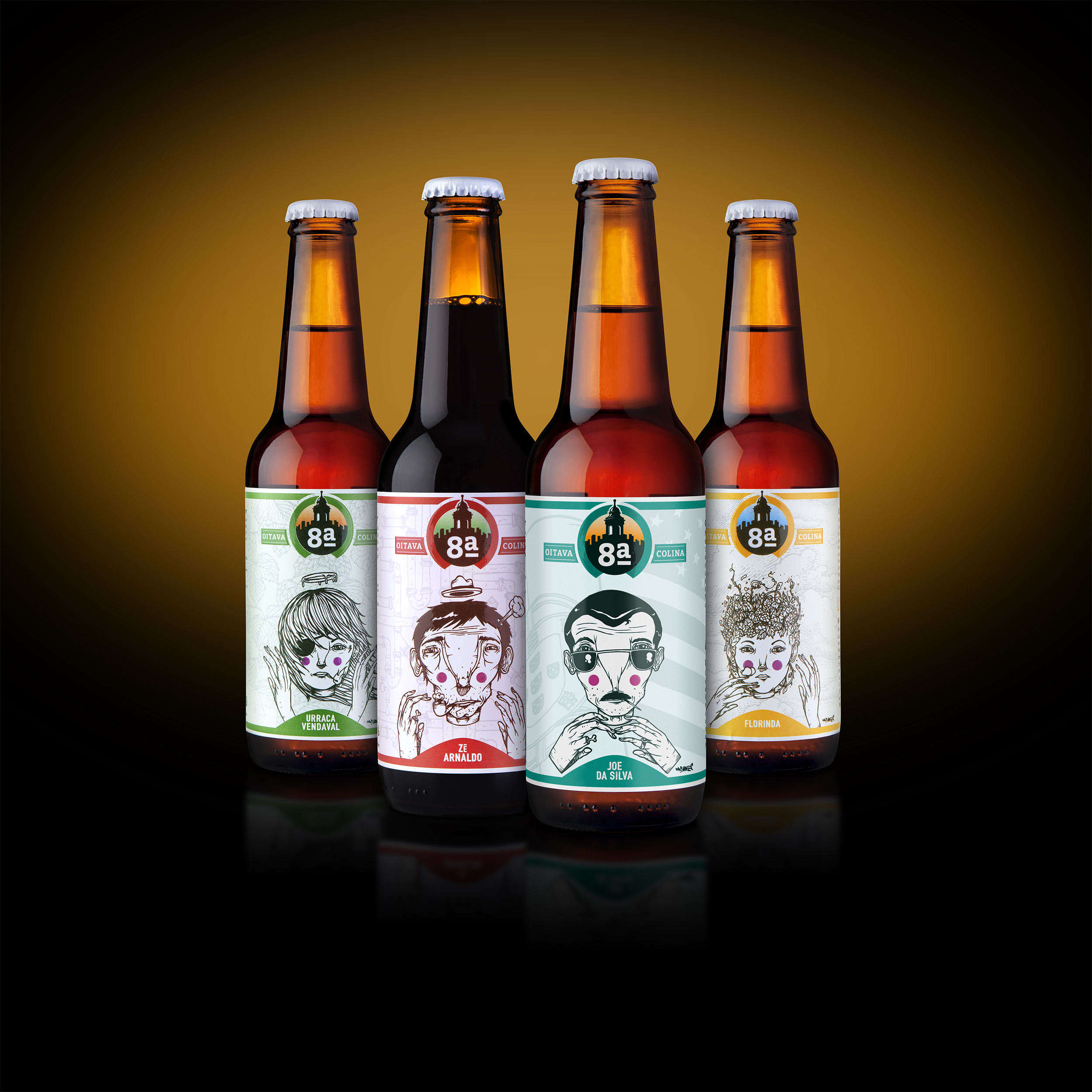 Packaging Design and Illustration for Micro-Brewery from a Lisbon Neighbourhood Craft Beer