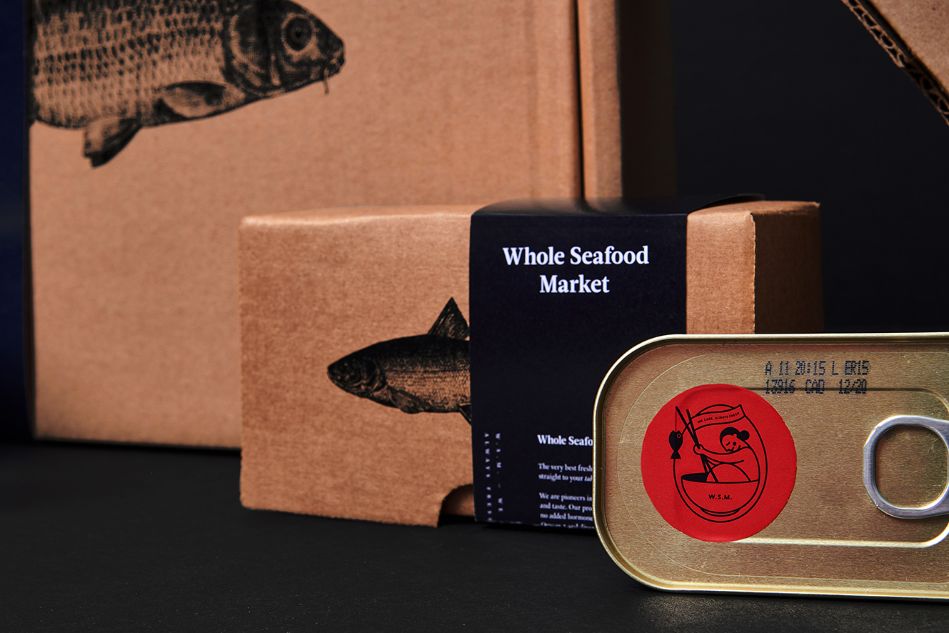 Modern Identity System Incorporating Illustration and Photography for Whole Seafood Market