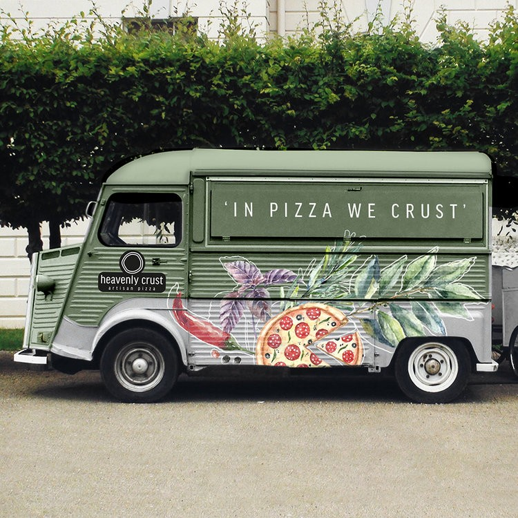 Illustrative and Contemporary New Brand, Packaging and Interior Design for Pizza Restaurants