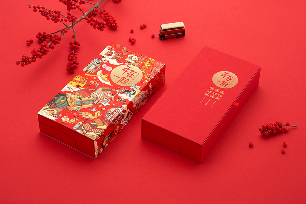 Chinese Gift Box for Spring Festival Market with Modern and Traditional Illustration