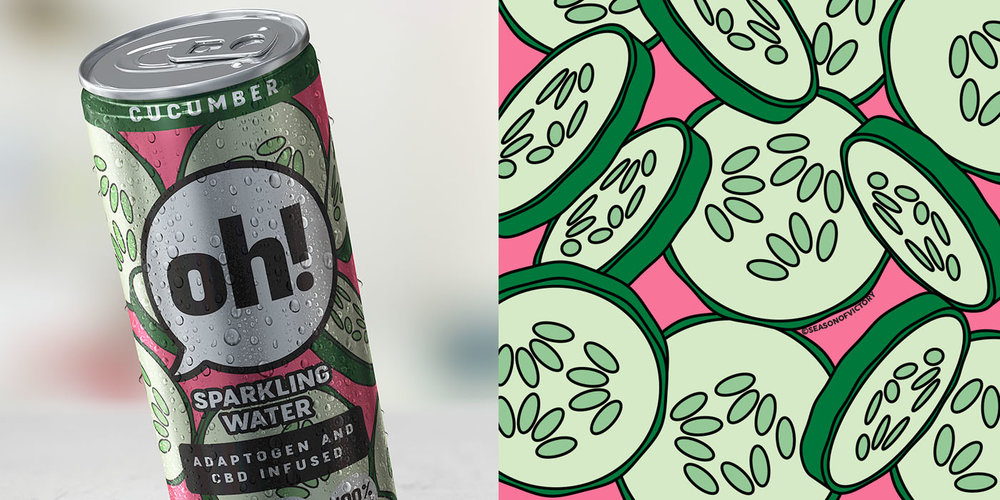 Oh! Sparkling Water Packaging, Adaptogen and Cbd Infused ...