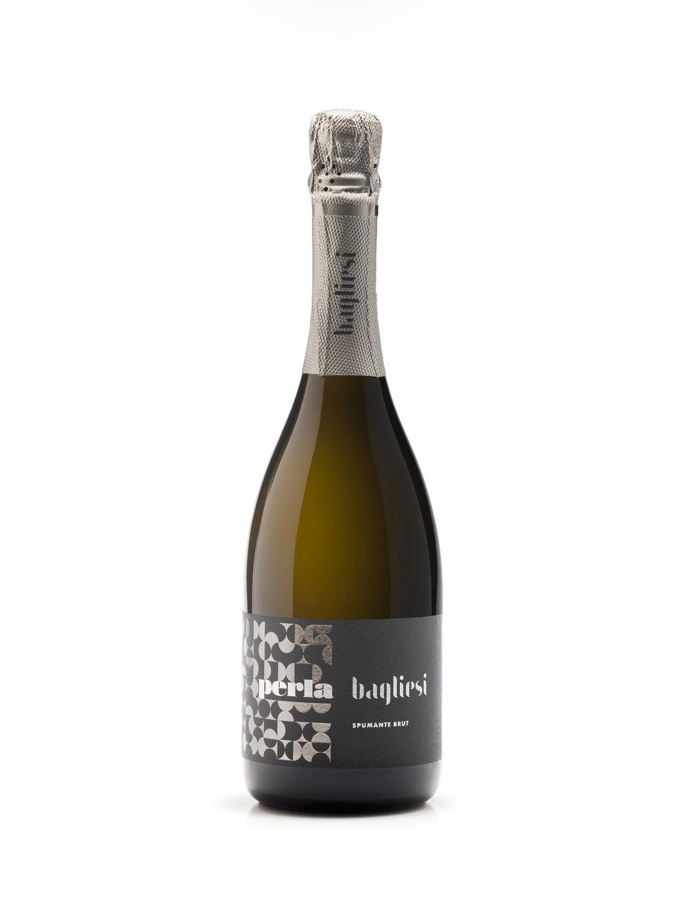 Vintage Label for Sparkling Wine Catarratto Brut by Azienda Agricola Bagliesi
