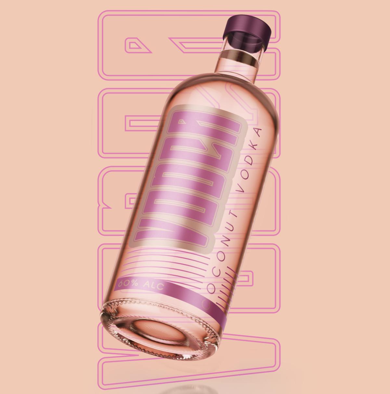 Vodca Coconut Vodka Branding Bottle Design Concept