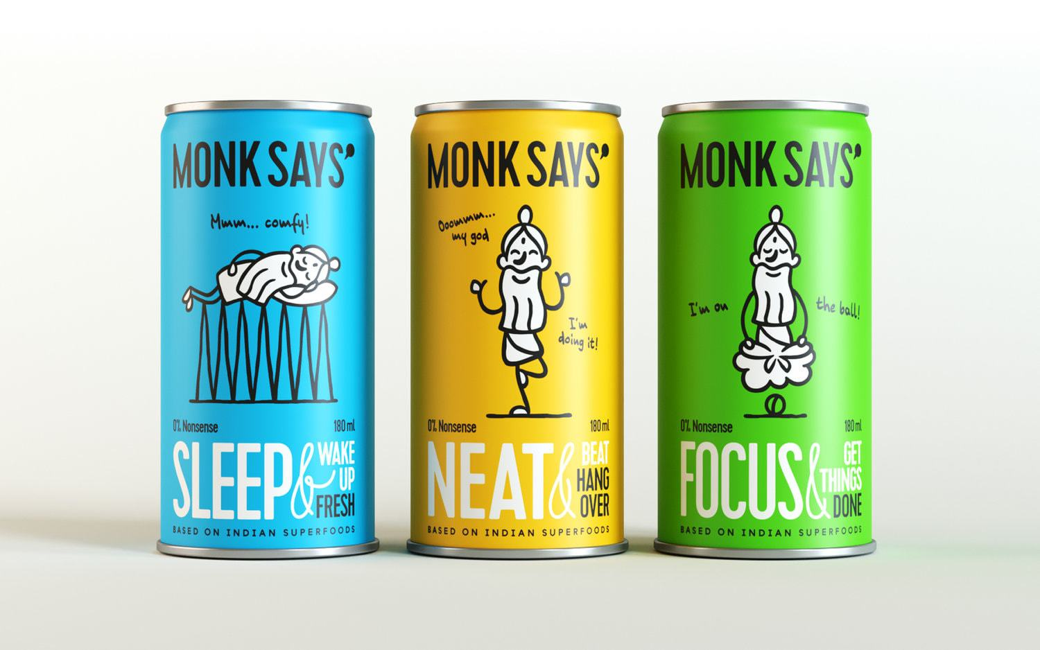 Packaging Design for Monksays Superfoods: the Line of Natural Drinks Based on Indian Superfoods.
