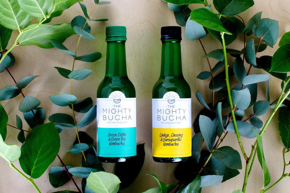 Minimalist Branding for the Mighty Bucha Herbal-infused Kombuchas