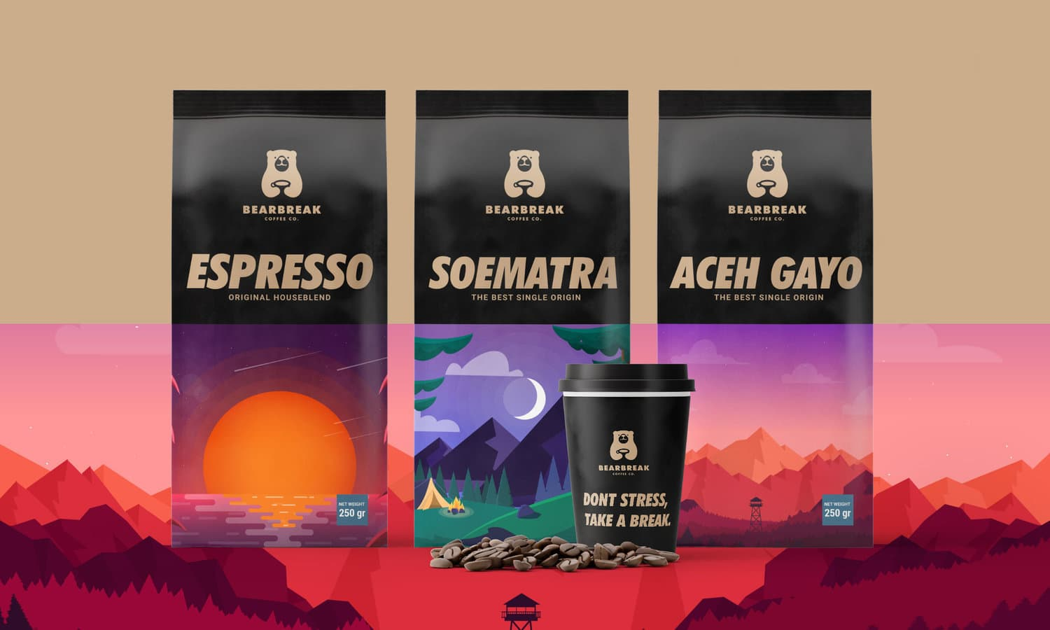Creating Business Concept, Branding for Bearbreak Coffee Co, Startups Company.