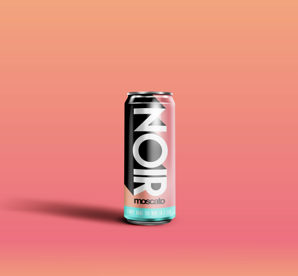 Noir Moscato Canned Wine Concept