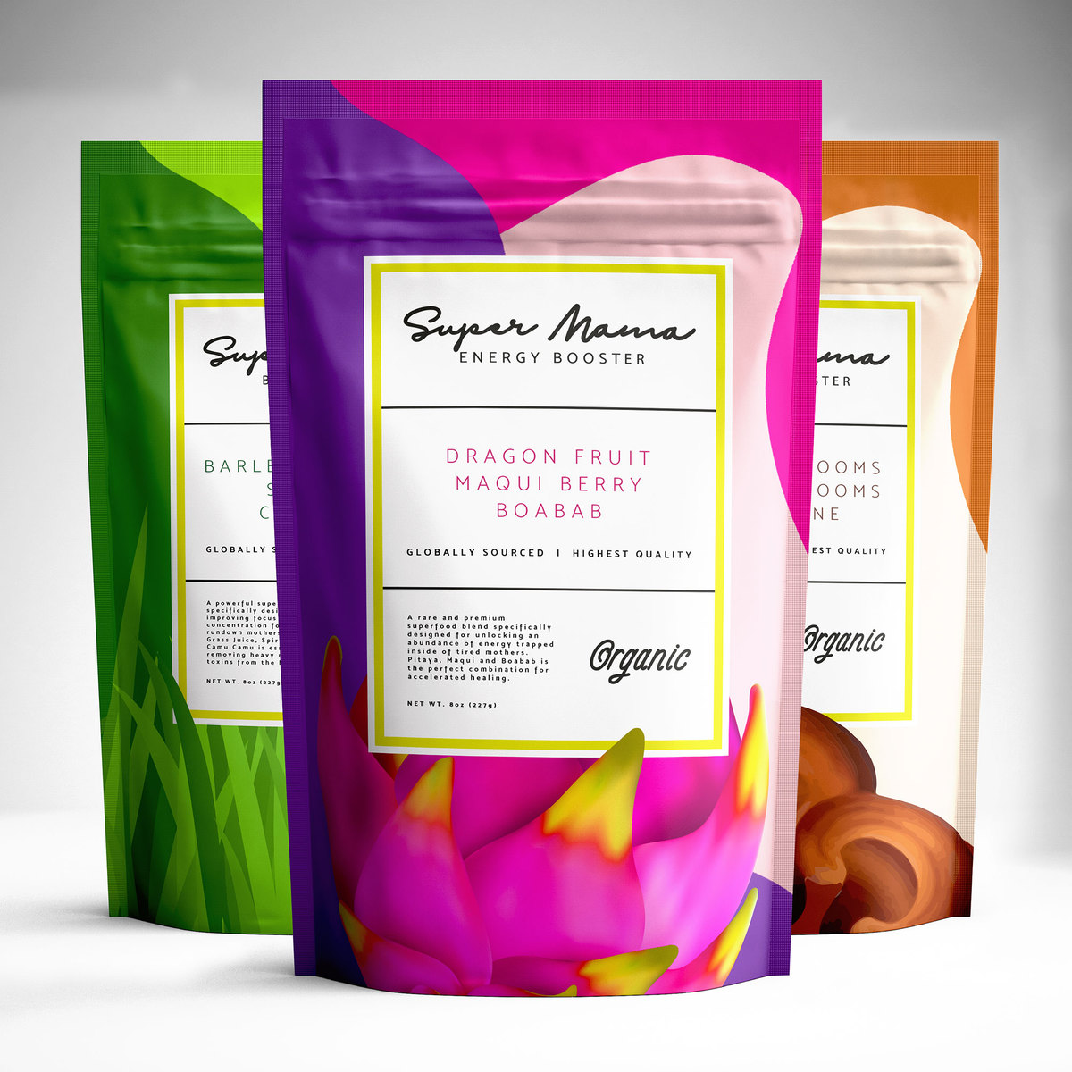 Supplement Packaging Bag Designs for SuperMama Booster Product Line