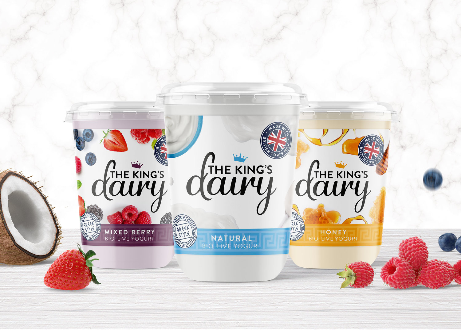 Brand and Packaging Design for The King's Dairy Yogurt