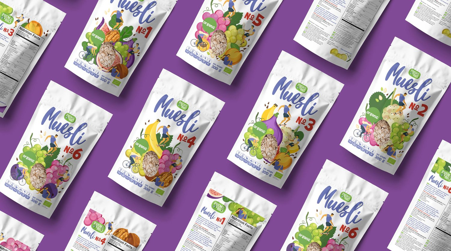 A Series of Packaging Designs for Cereals, Muesli and Dried Fruit