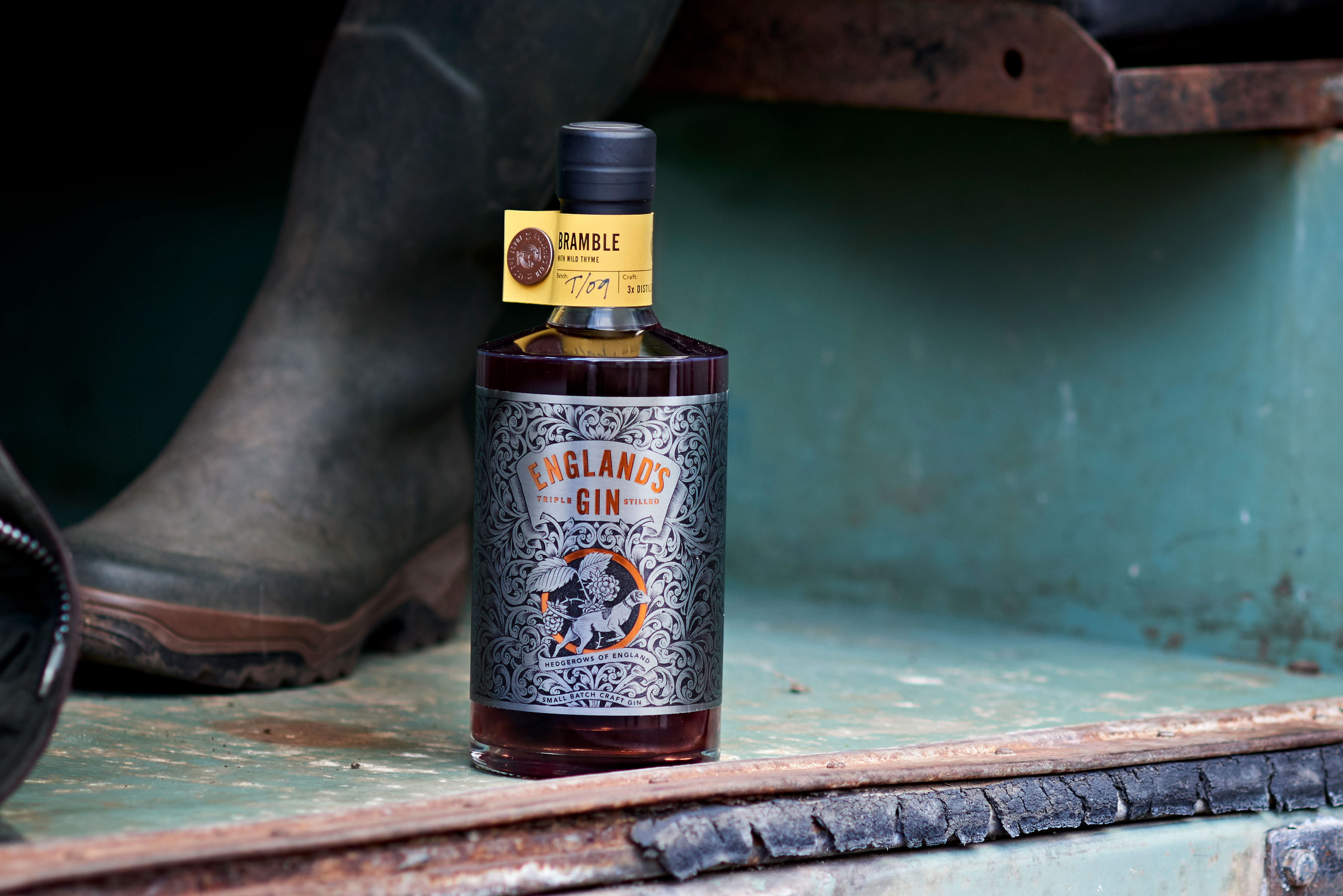 Brand Design for England's Gin, Made From the Hedgerows of England