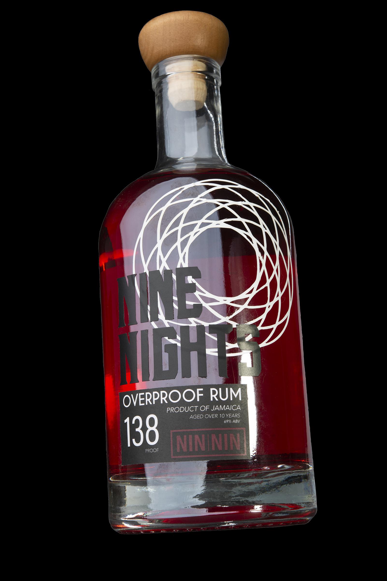 Nine Nights Bilingual Rum Bottle Packaging Design