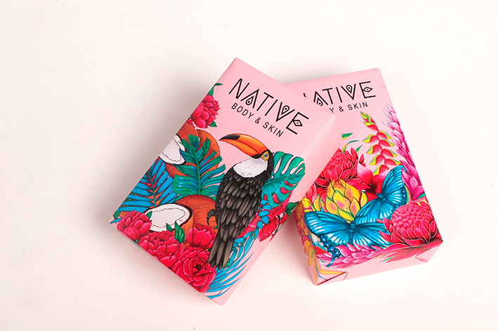 Packaging That Was Done by a Student for a Native Soap Bar Company