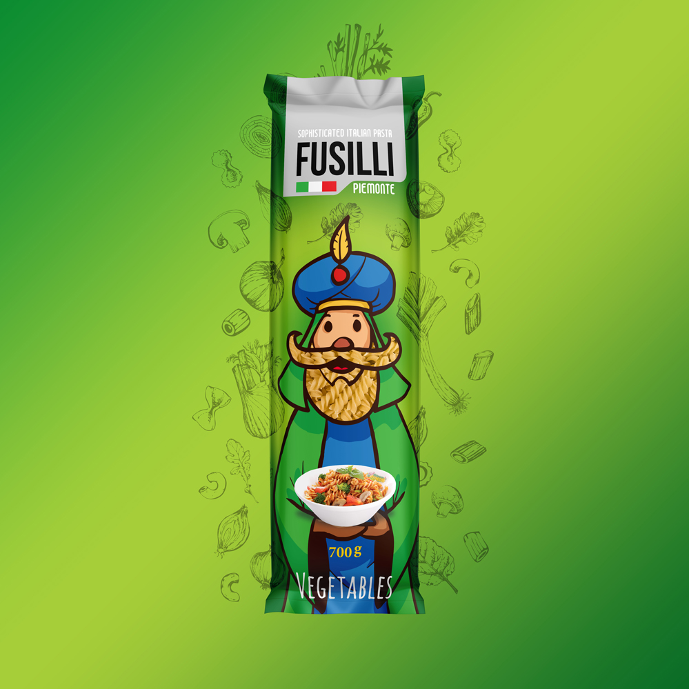 Italian Pasta Fusilli Packaging Design