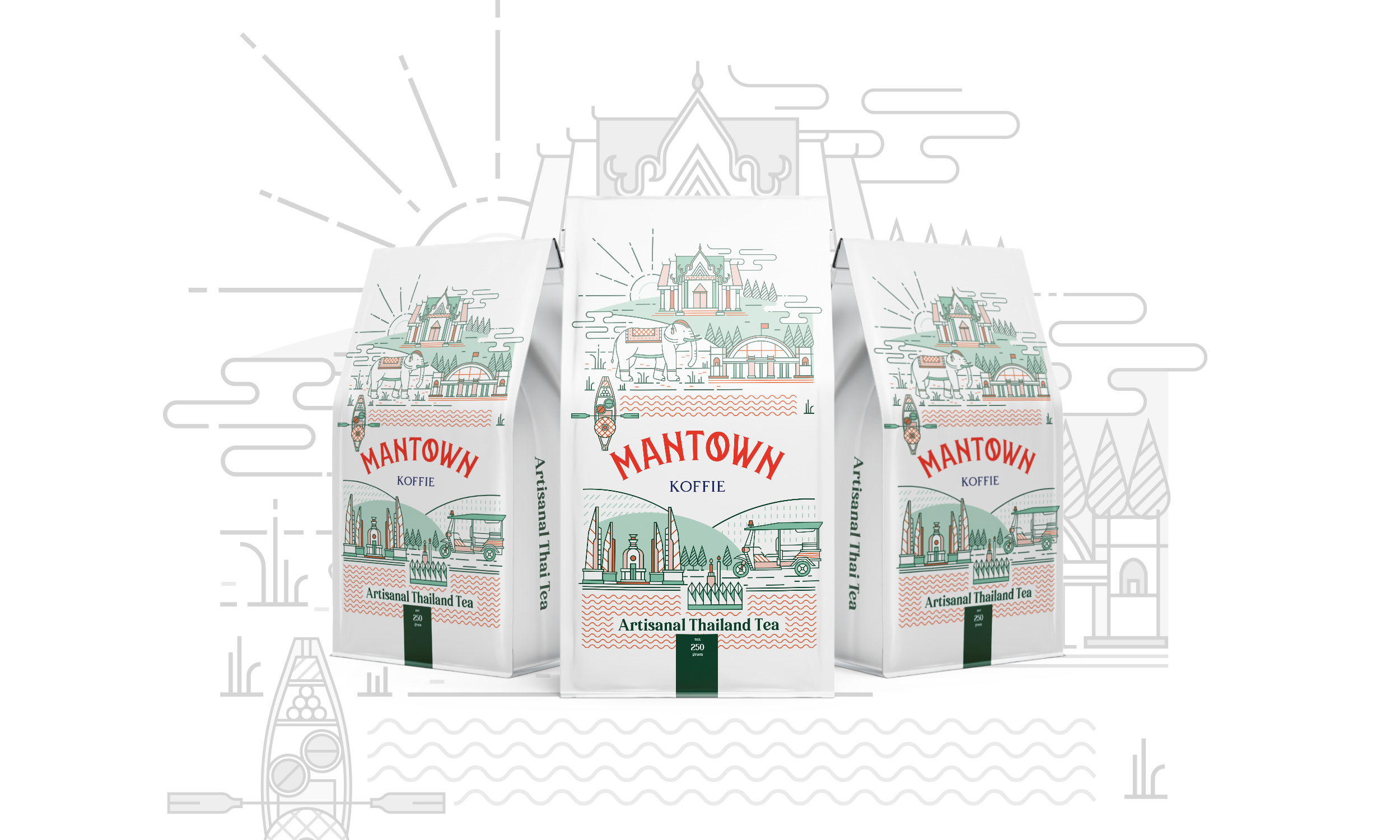 Thai Tea Packaging Design for ManTown Koffie