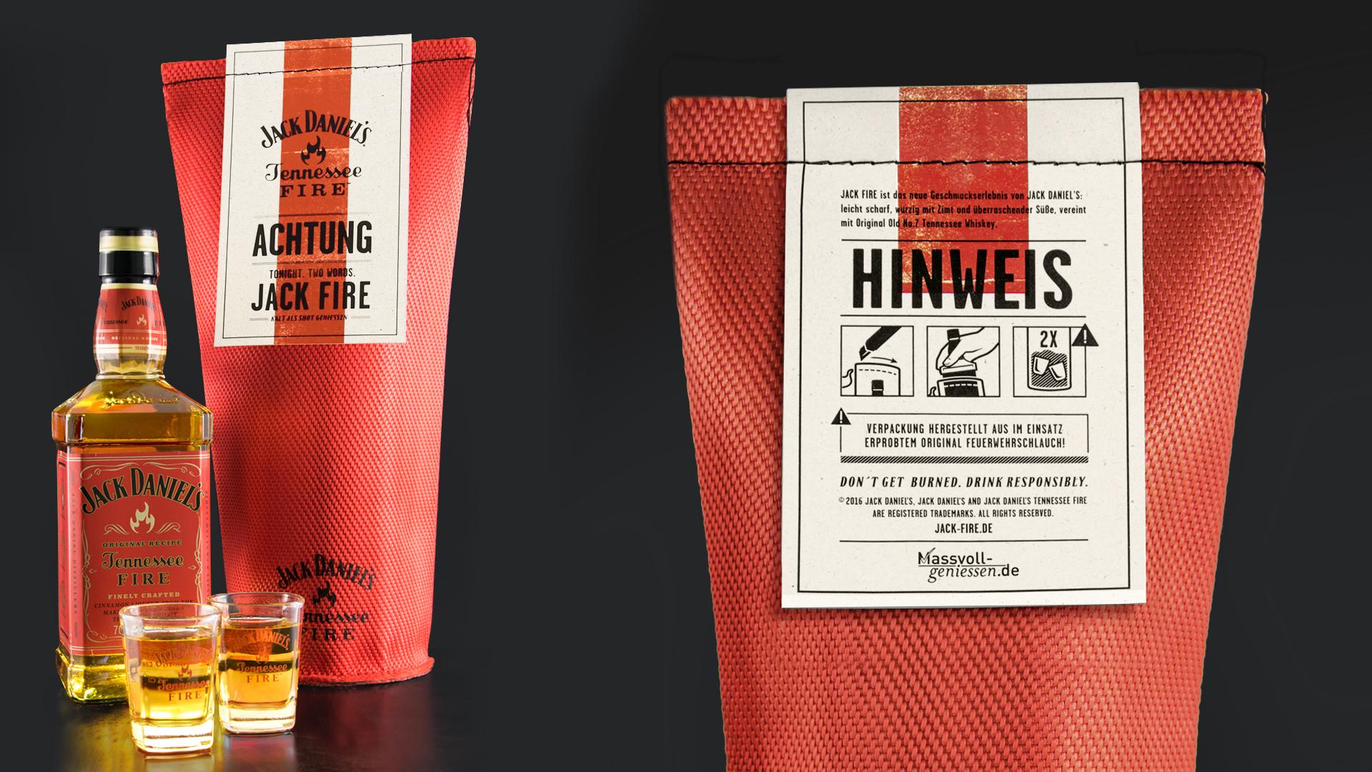 Higgins Design Wrapped Jack Daniels Tennessee Fire in Original Fire Hoses