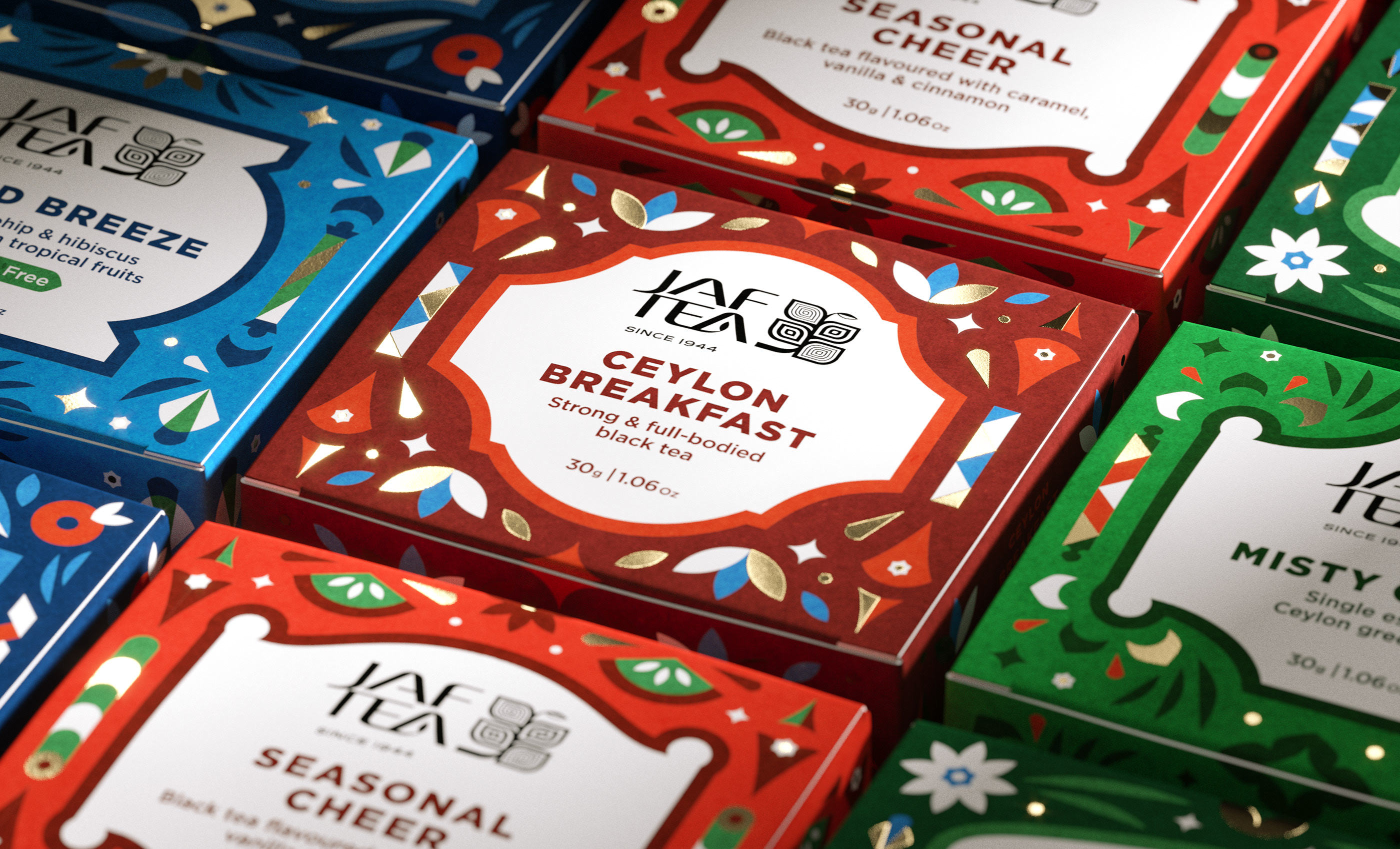 Season's Greetings Gift Tea Packaging for JAFTEA Brand