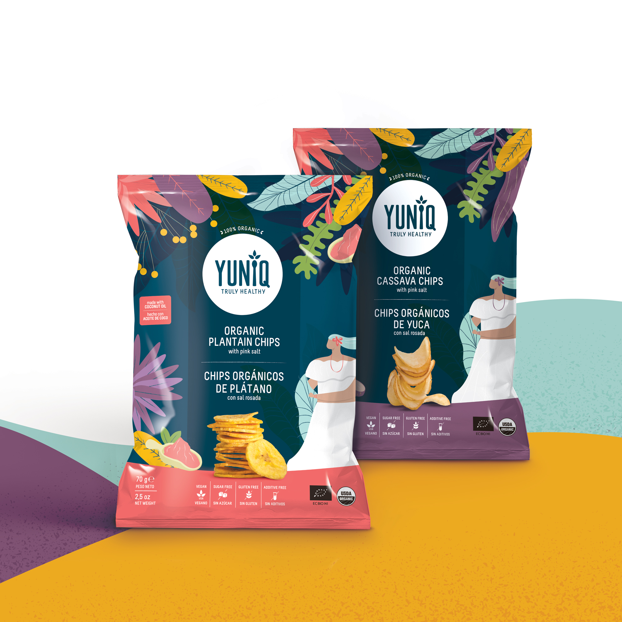 Yuniq rebranding and packaging for organic cassava and plantain chips