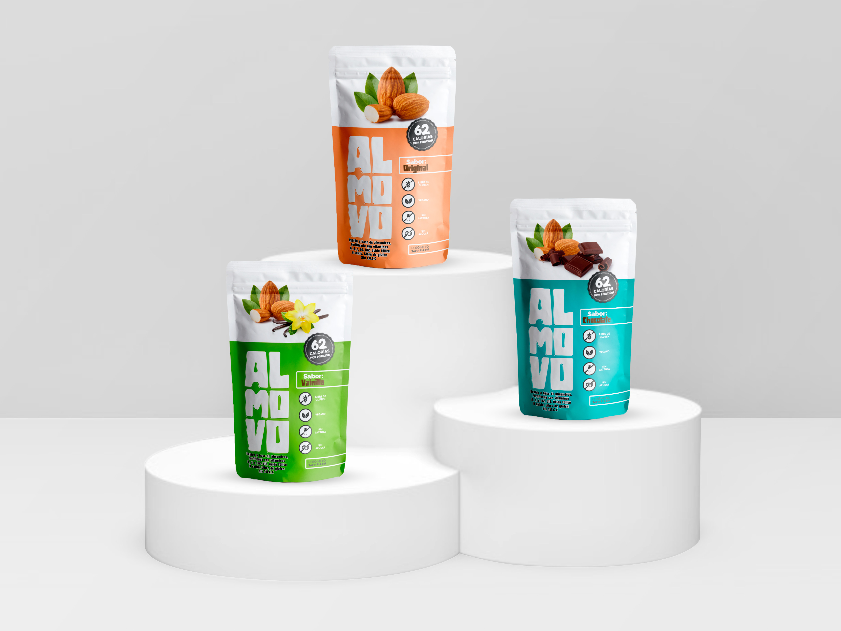 ALMOVO Packaging design for almond powder drinks – Colombia