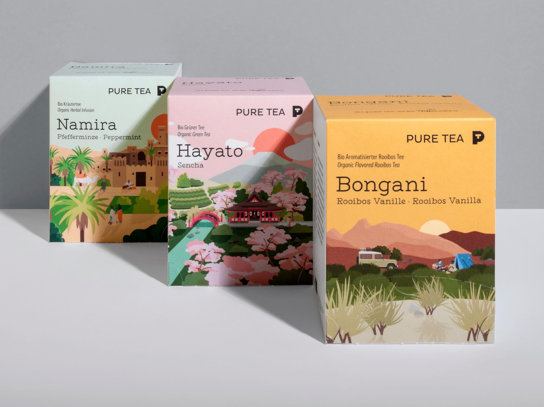 Pure Tea Packaging Illustrations