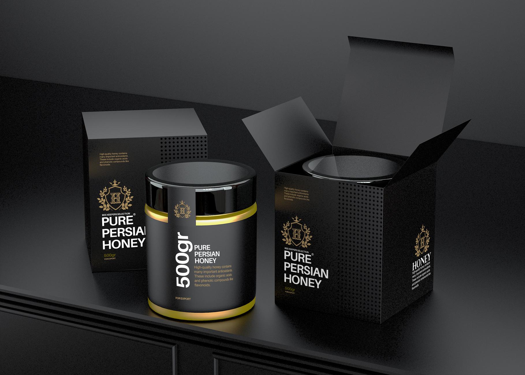 Taha Fakouri Creats New Persian Pure Honey Packaging Design