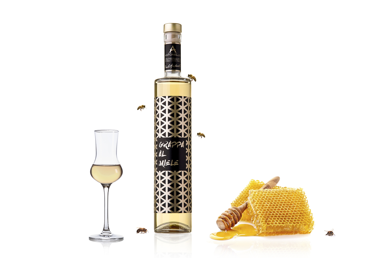 Grappa Made From the Infusion of Three Varieties Honey and Millions of Bees