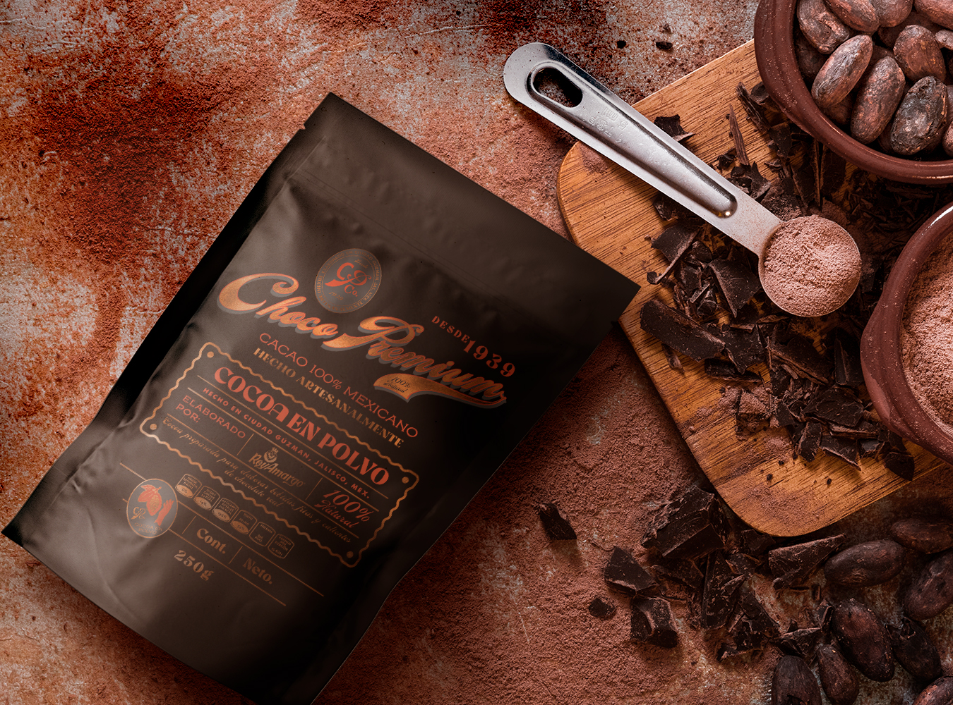 Branding and Packaging Design for Premium Cocoa Mix Made in Mexico