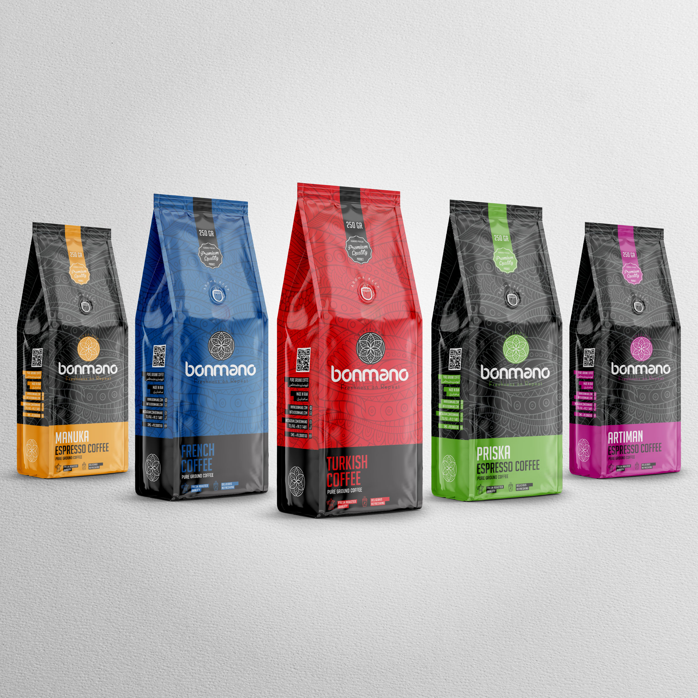 Coffee Packaging Design for Bomano Co.